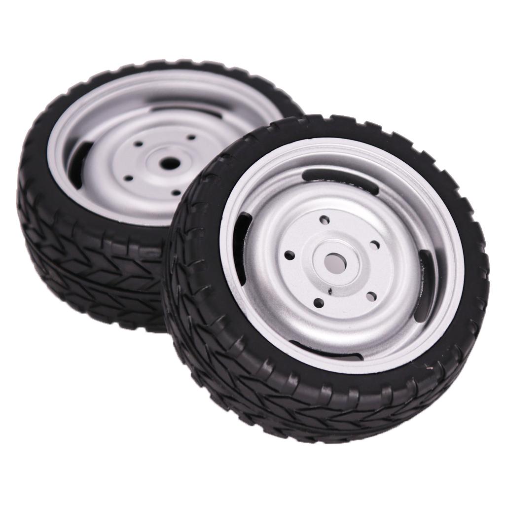 2PCS 1/10 Rubber Tire 62mm Wheel Rim Fit For HSP HPI 9068-6081 RC Car Part  Four-hole wheel_2PCS