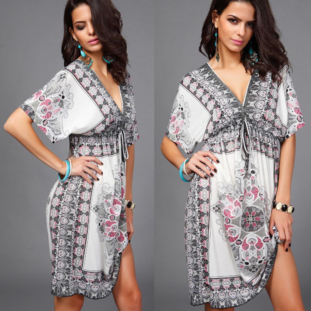 Women Sexy Beach Printing Short Dress V Collar Short Sleeve Dress white_One size