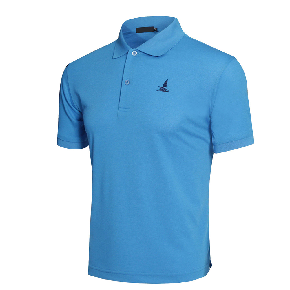 Men Short Sleeve Shirts Solid Color Lapel Collar Casual Tops for Daily Sports Wearing sky blue_XXL