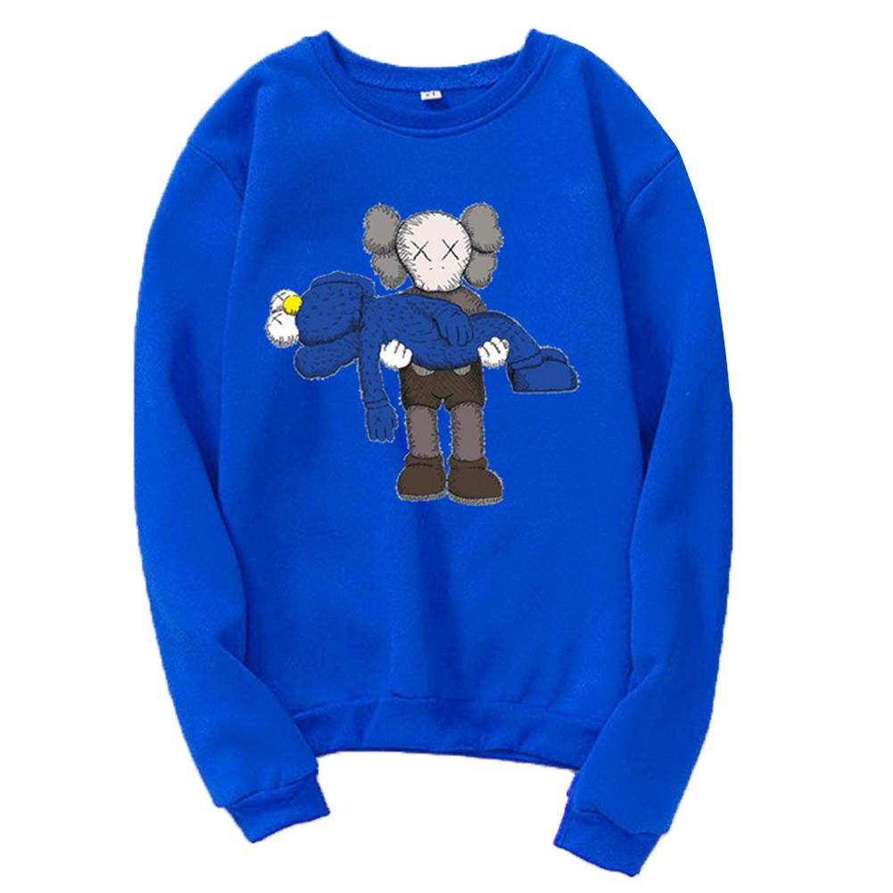 Men Women Loose Cute Cartoon Printing Round Collar Fleece Sweatshirts blue_S