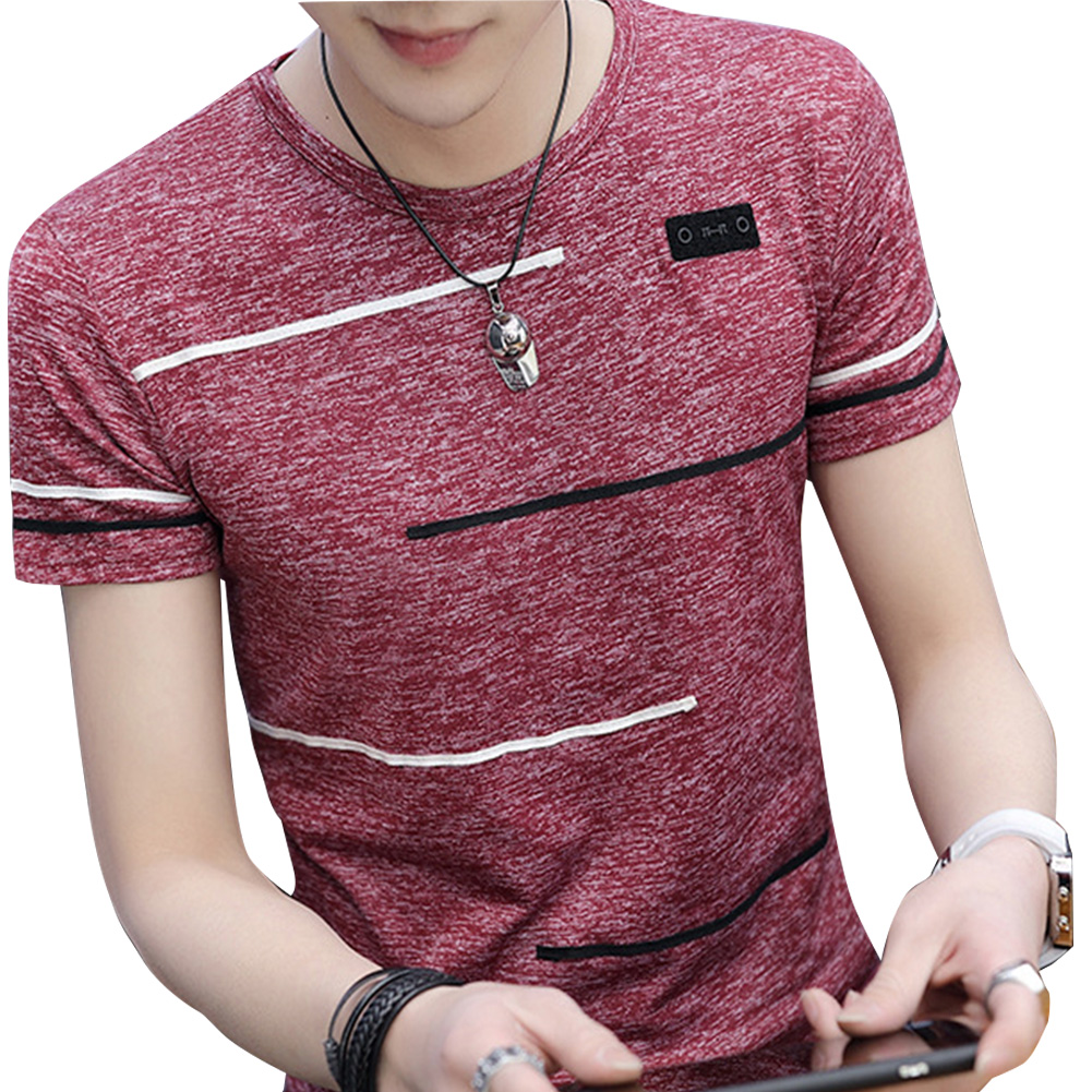 Men Short Sleeve Fashion Printed T-shirt Round Neck Tops red_XXXL