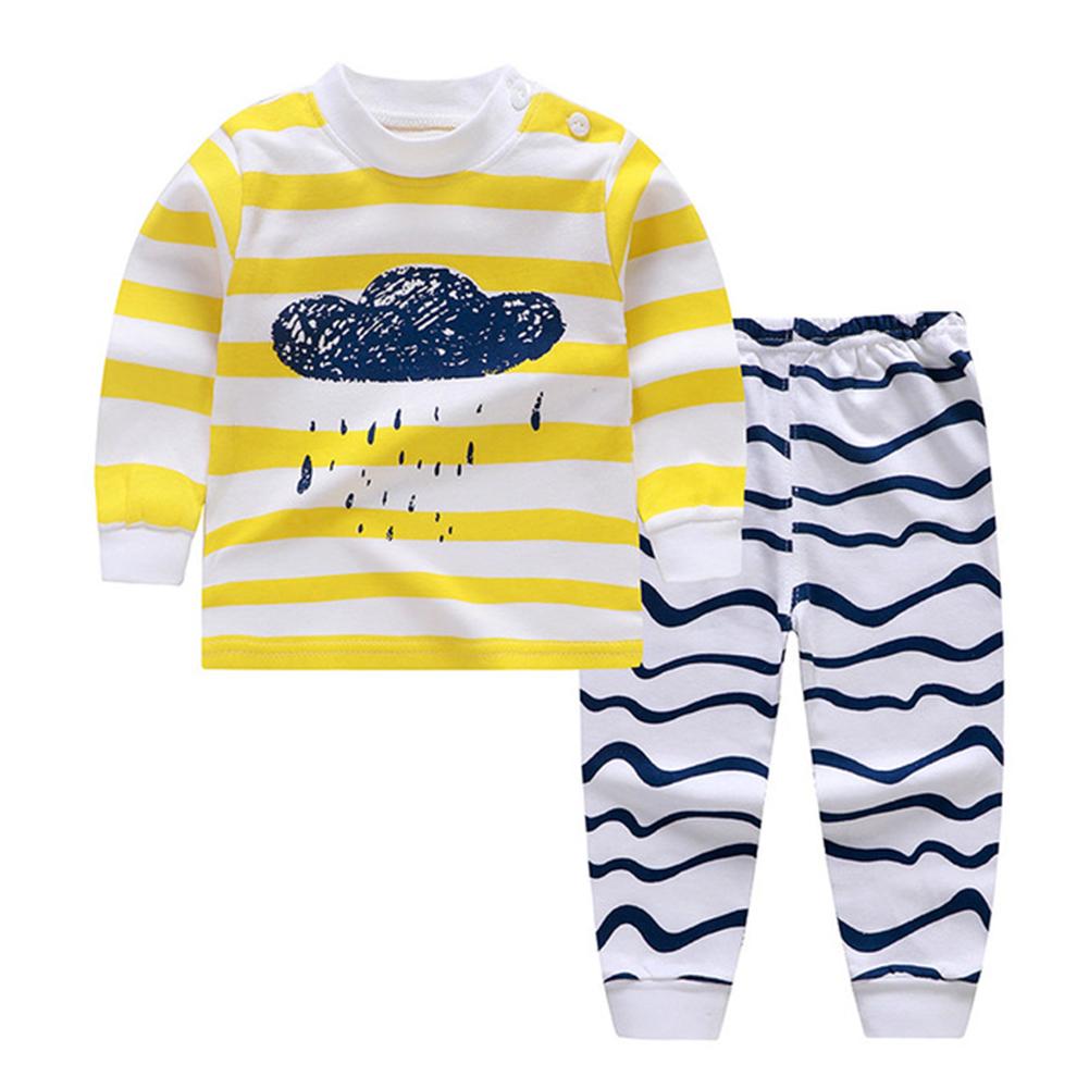2pcs/set Children Boys Girls Soft Cotton Home Wear Set Tops + Pants Yellow cloud_90 yards / 60