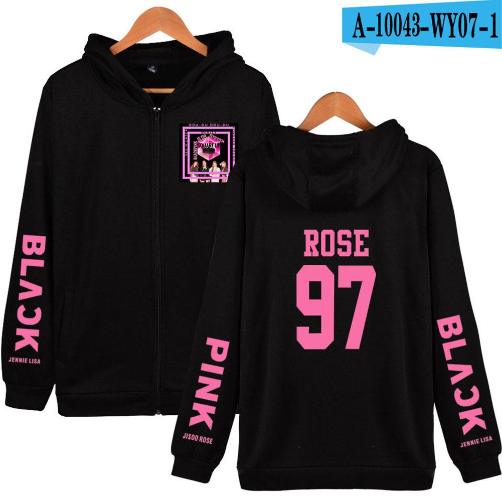 Men Women Black Pink Printing Zipper Hooded Long Sleeve Sweatshirts A-10043-WY07-1 A black_M