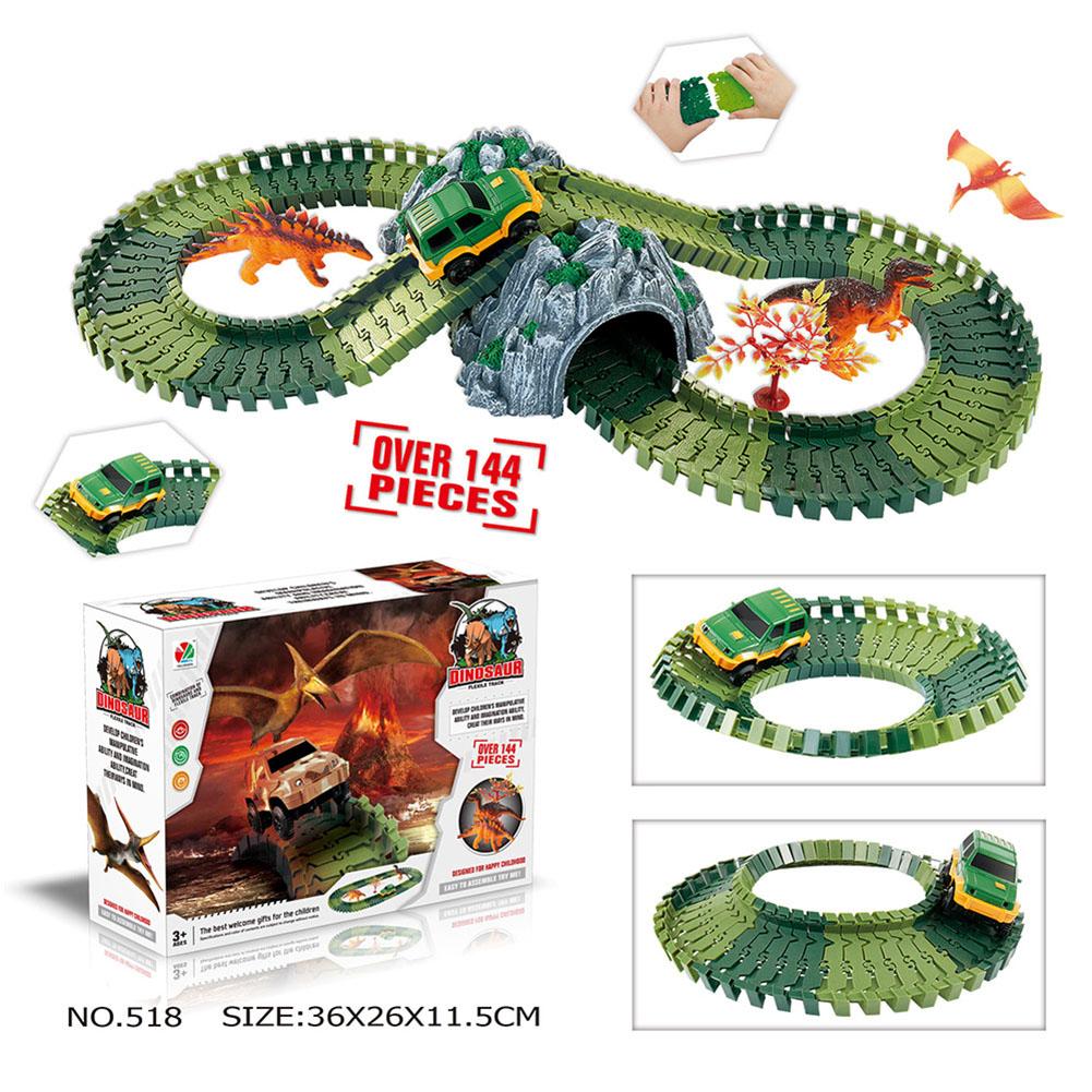 Simulate Dinosaur Track Racing Car Set Assembly Blocks Sound Light Effect Kids Toy Gift  518 Dinosaur Track (144PCS)