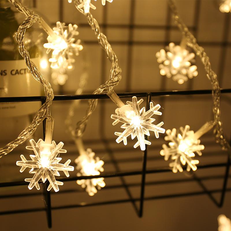 3M/6M/10M 20LEDs/ 40LEDs/ 80LEDs Snowflower Shape String Lights Decoration for Christmas Tree Battery Powered Snowflower - warm color -6 meters 40 light battery