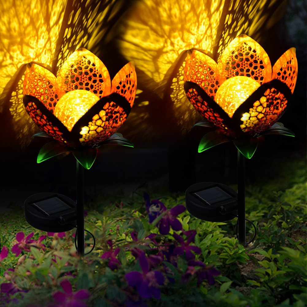 LED Garden Solar Light Pathway Hollow Flower Stake Projector Lamp Decor LED Light Lamp  red