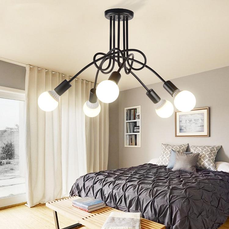3/5 Pastoral Modern Ceiling Lamps Lights for Living Study Dining Room  black_5 heads