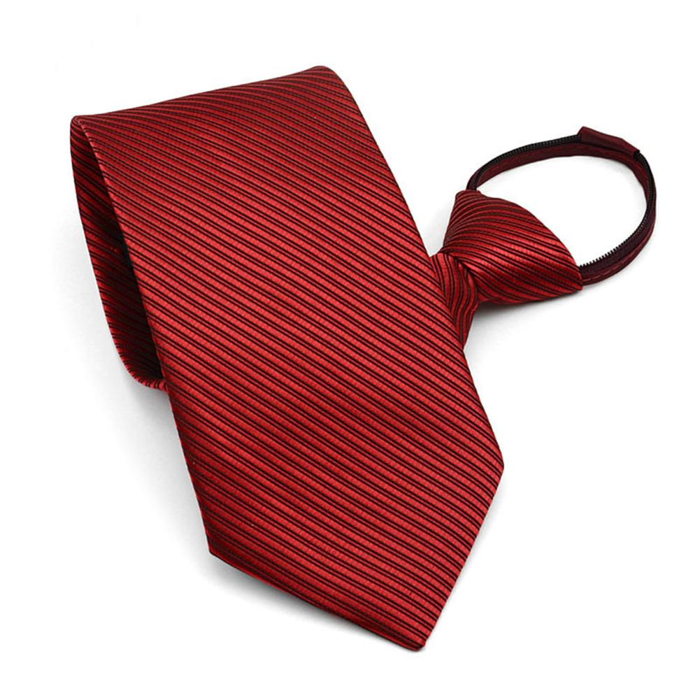 10CM Men Business Style Simple Lazy Zipper Tie Red wine