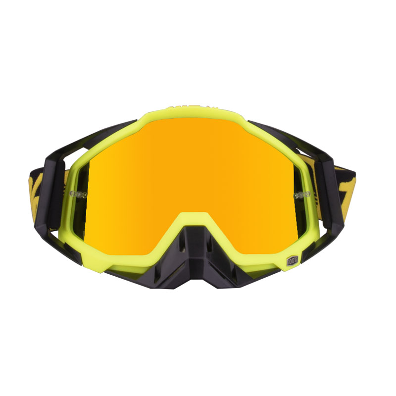Motorcycle  Goggles Outdoor Off-road Goggles Riding Glasses Windproof Dustproof riding glasses Black fluorescent yellow + black (red film)