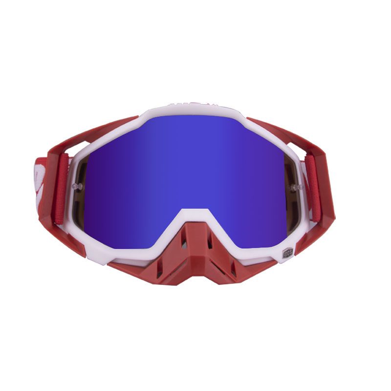 Motorcycle  Goggles Outdoor Off-road Goggles Riding Glasses Windproof Dustproof riding glasses Red and white + red (blue film)