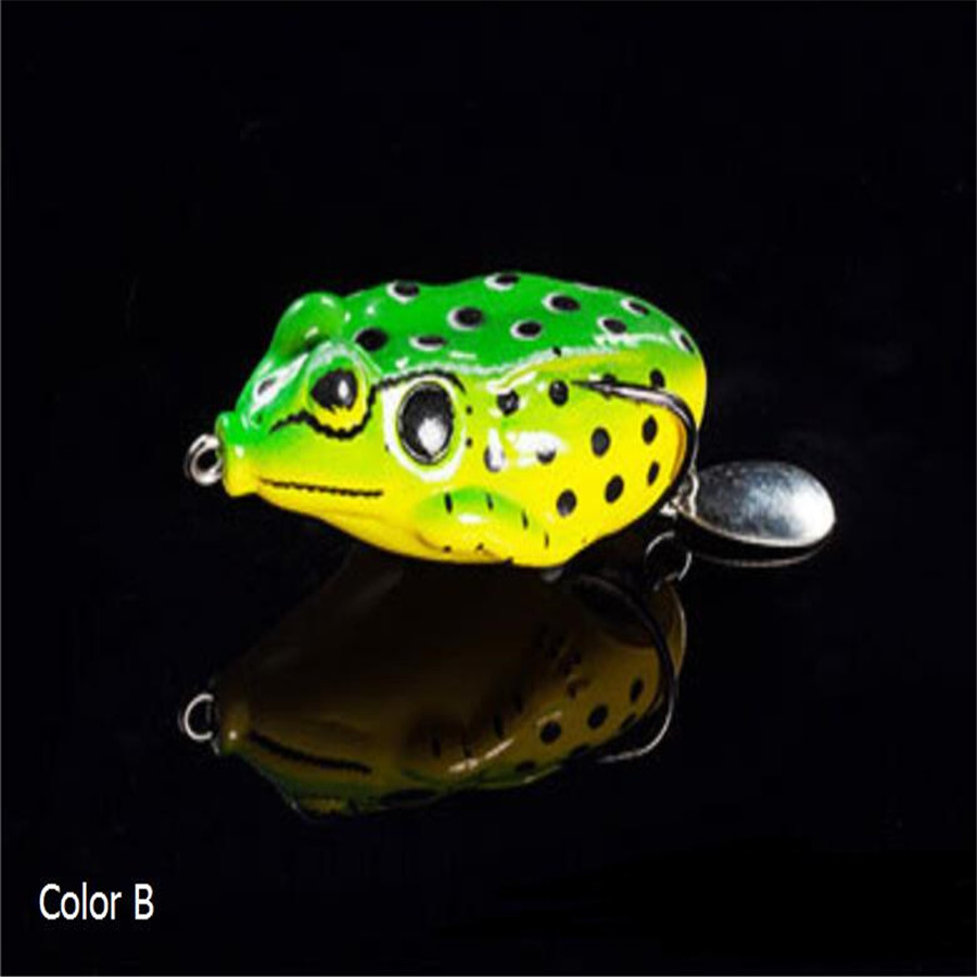 13G Paillette Simulate Frog Bait Fishing Lures Artificial Bait Tackle Accessories Green back yellow body B