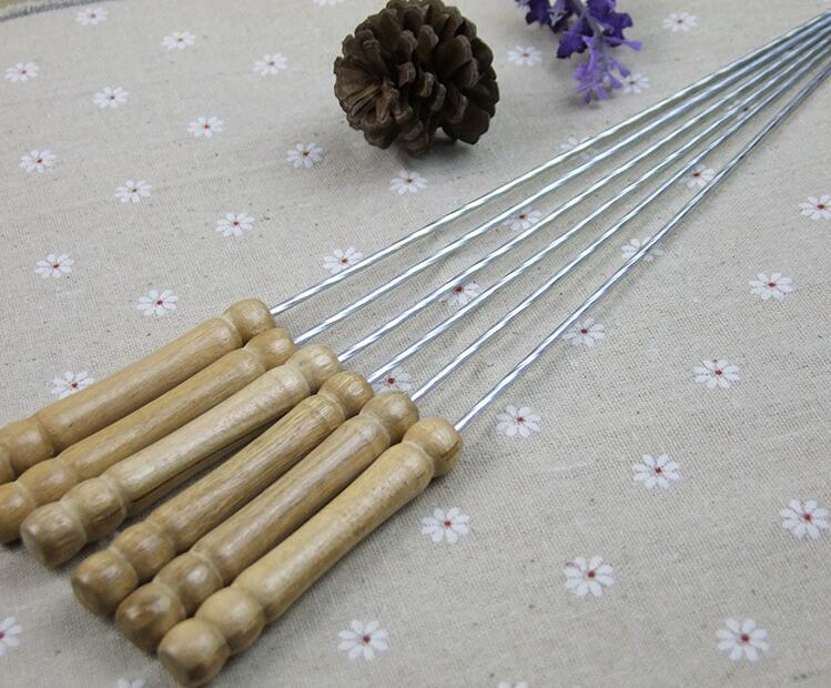 12 Pcs Barbecue Skewers Stainless Steel Roasting Sticks with Wooden Handle  Twist shaped