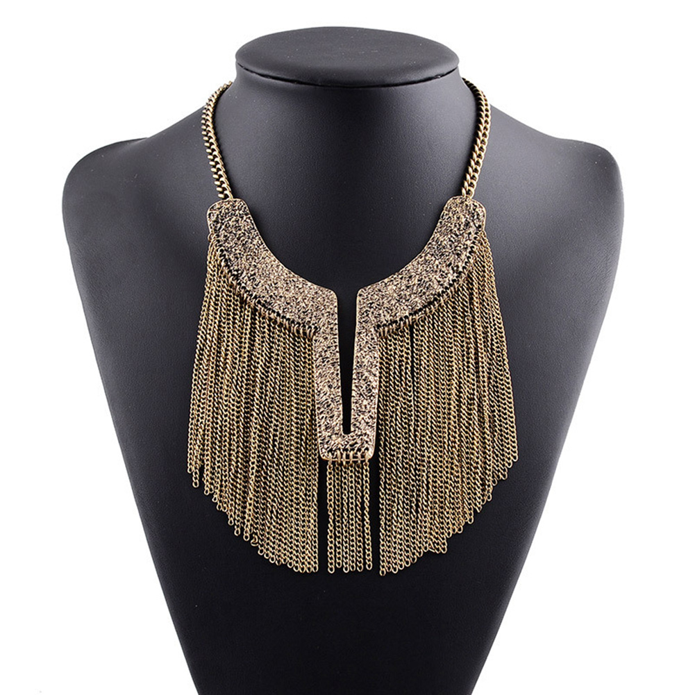 Fashion Women Metal Multilayer Chain Tassel Tassels Choker Bib False Collar Necklace Bronze