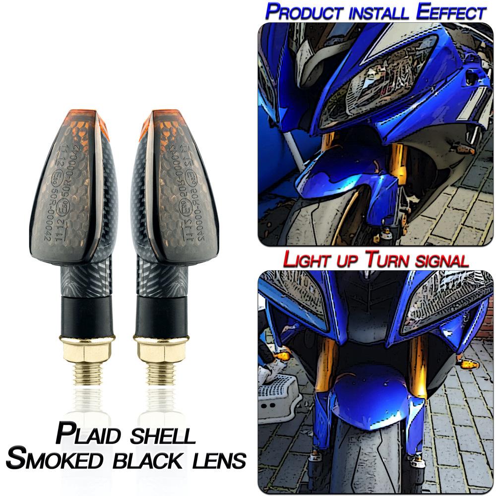 1 Pair Motorcycle Light E-mark Certified Long Short 14led Turn Signal Light Lattice shell/smoked black lenses