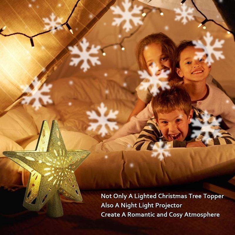 LED Magic Projector Light Rotating 3D Glitter Lighted Star Tree Topper Christmas Decoration Gold Golden blizzard_European plug