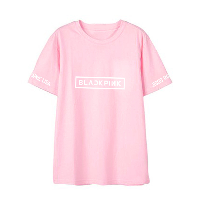 Simple Casual BlackPink Letters Printing Short Sleeve T-shirt