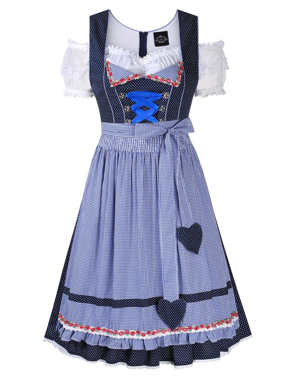 [EU Direct] Women's Oktoberfest Lace Short Sleeve Dress Suit Dot Plaid Stitching  Cold Shoulder Party Dress