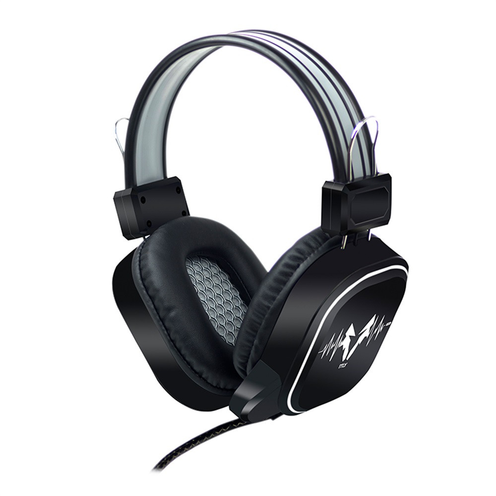 USB Wired Gaming Headphone LED RGB Lighting Over-Ear Gamer Headset with Microphone for PC Laptop Xbox One PS4 Not glowing black gray