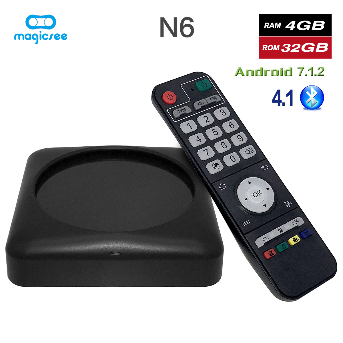 TV BOX N6 Max RK3399 Android 7.1 TV BOX 4G 32G Rom 2.4+5G Dual Wifi 1000M LAN BT 4.1 Smart Box 4K Set Top Box black_4 + 32GB British regulations