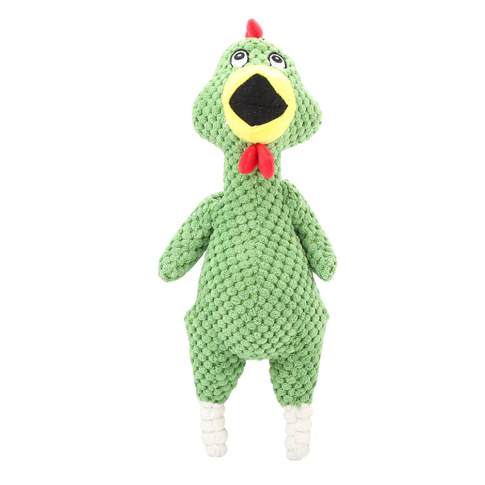 Bite-resistant Pet Squeaky Chew Toy Plush Funny Screaming Chicken Toy for Dogs green