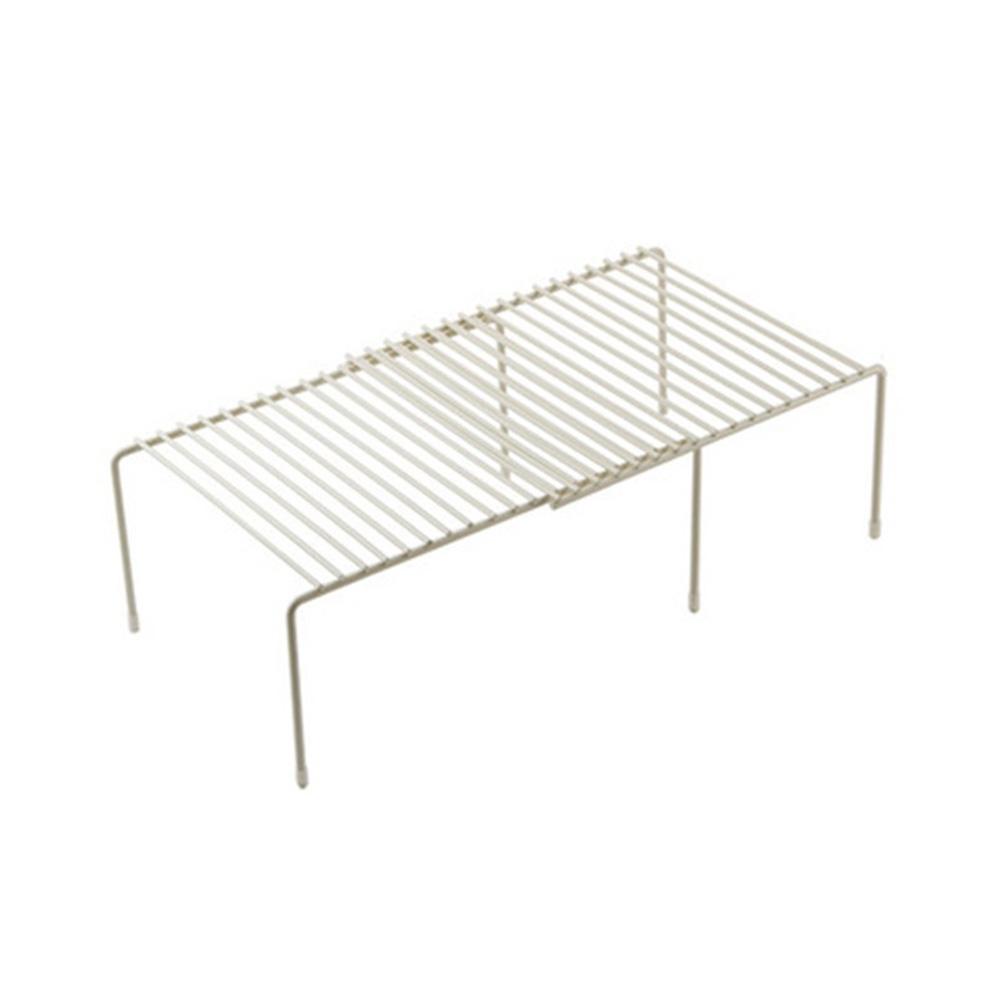 Iron Storage Shelf Retractable Adjustable Dish Spice Rack Kitchen Cupboard Organizer Stand white