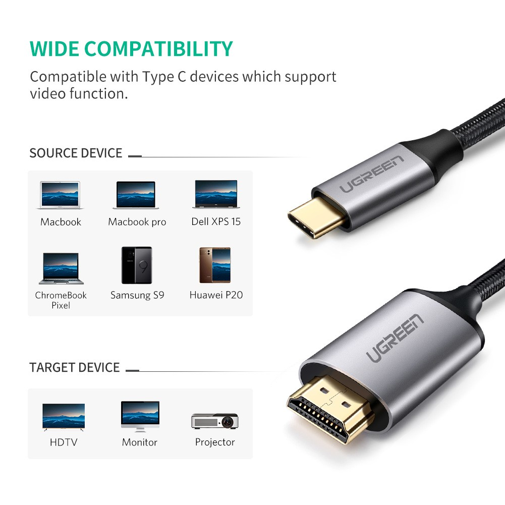 [US Direct] Original UGREEN USB-C to HDMI Cable, Resolution Up To 4K, compatible with Thunderbolt 3 Port, Support Data, Power-In, Video-Out Functions (6 Ft) Black_1.5M