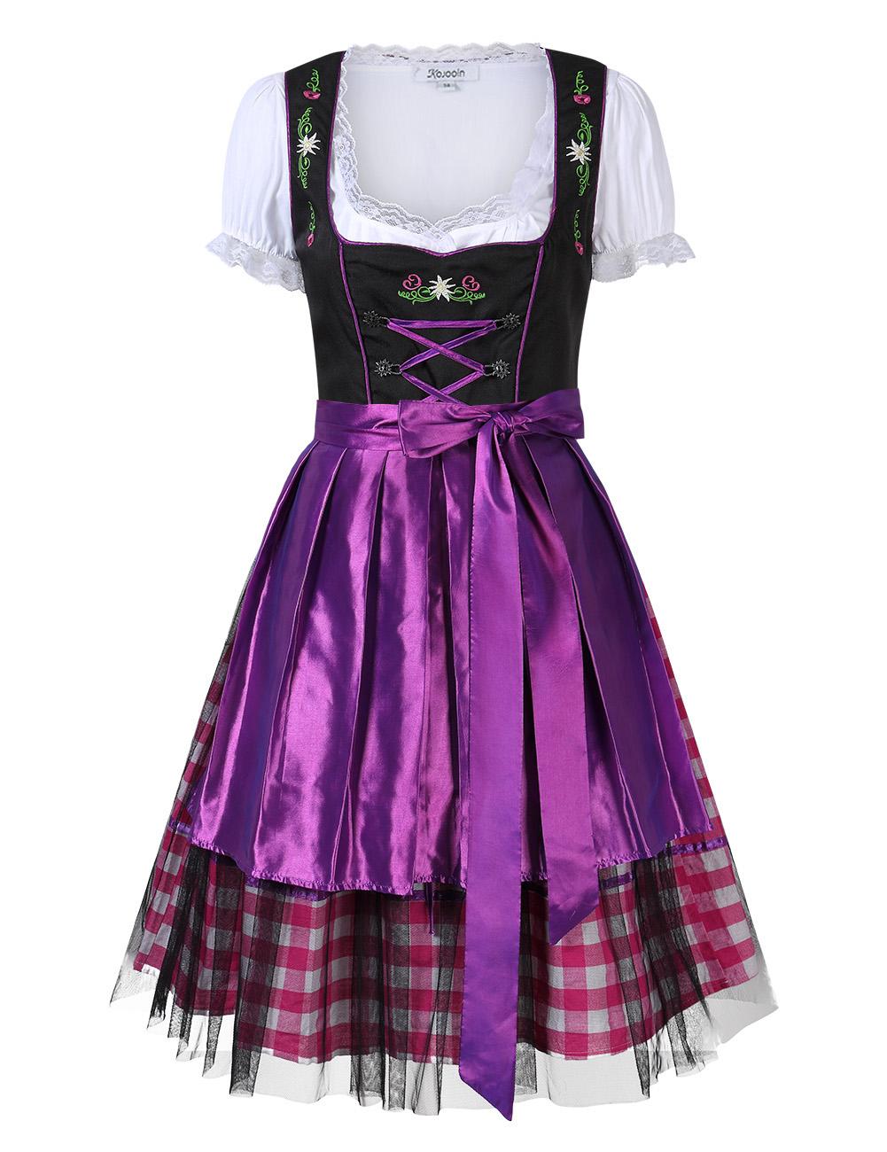 [EU Direct] Kojooin Women's Oktoberfest Plaid Mesh Stitching Embroidery A Line Formal Dresses Suit