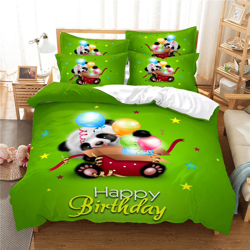 2Pcs/3Pcs Full/Queen/King Quilt Cover +Pillowcase Set with 3D Digital Cartoon Animal Printing for Home Bedroom Queen