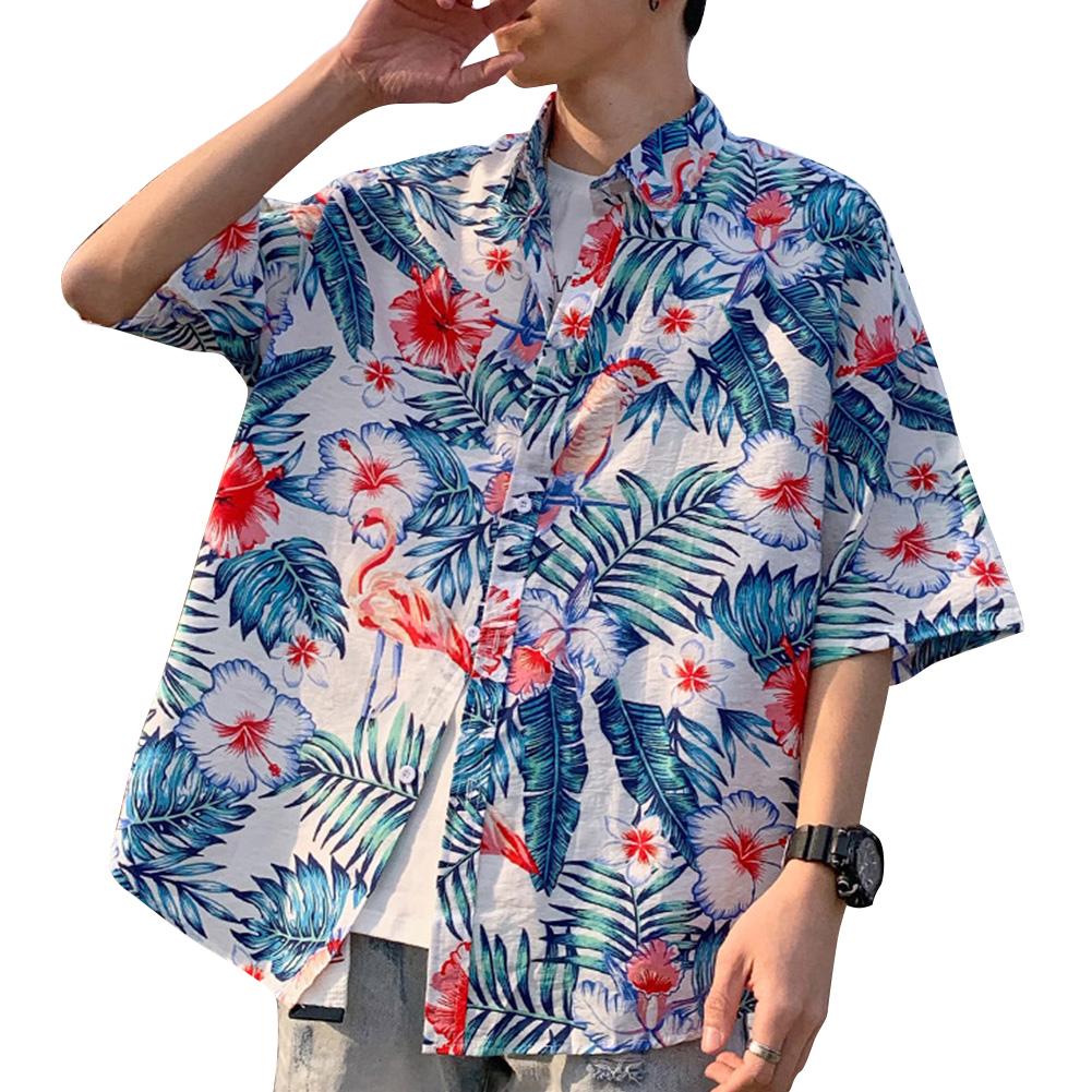 Women Men Leisure Shirt Personality Flamingo Floral Printing Short Sleeve Retro Hawaii Beach Shirt Top Summer C101 #_M
