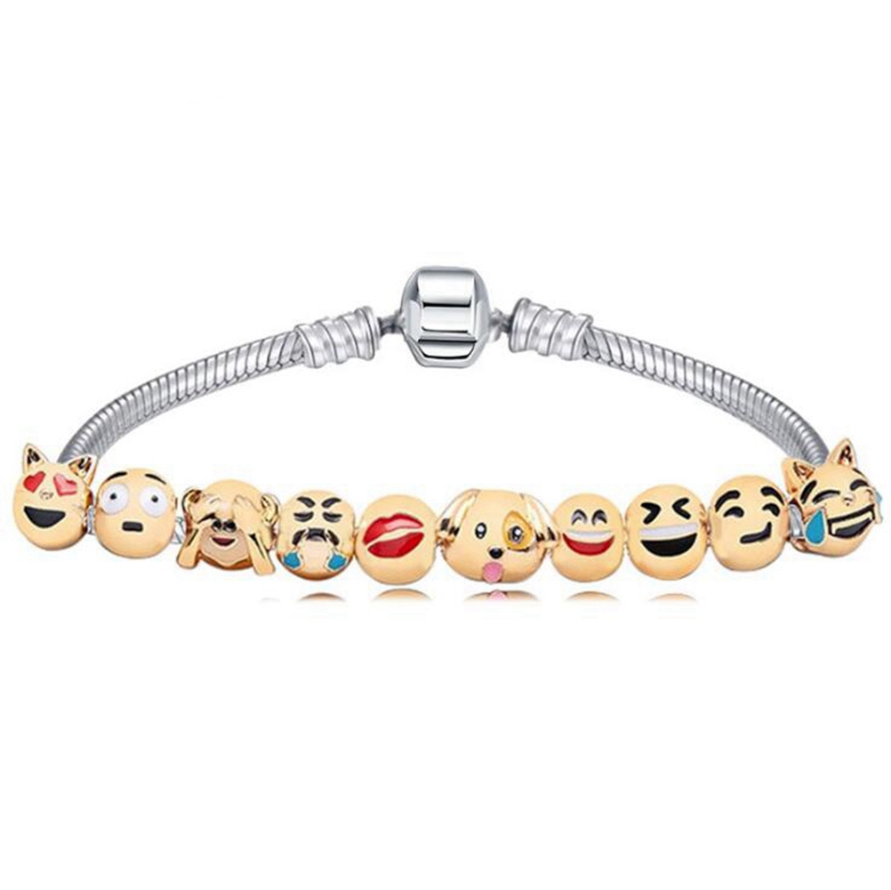 [EU Direct] Cute Charms Emoji Bracelet With 10 Pieces Cartoon Animal Fun Faces Beads Party Favors Gift