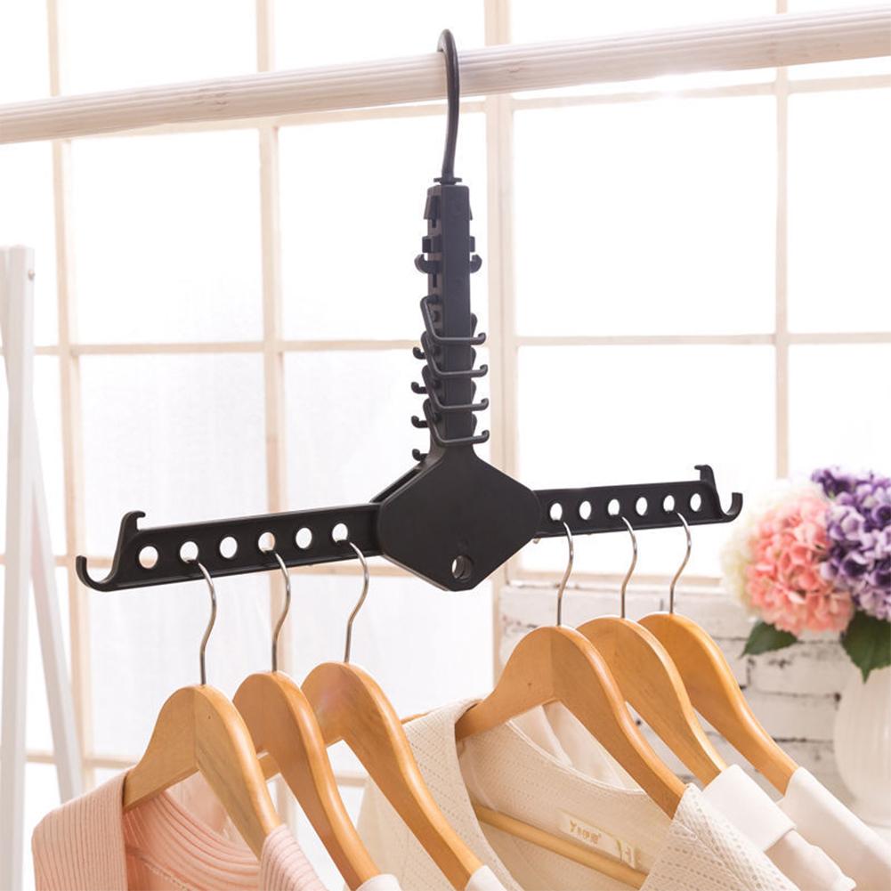 1pc Multifunctional Magic Clothing Rack Space Saver Folding Hanger for Closet Organizer black