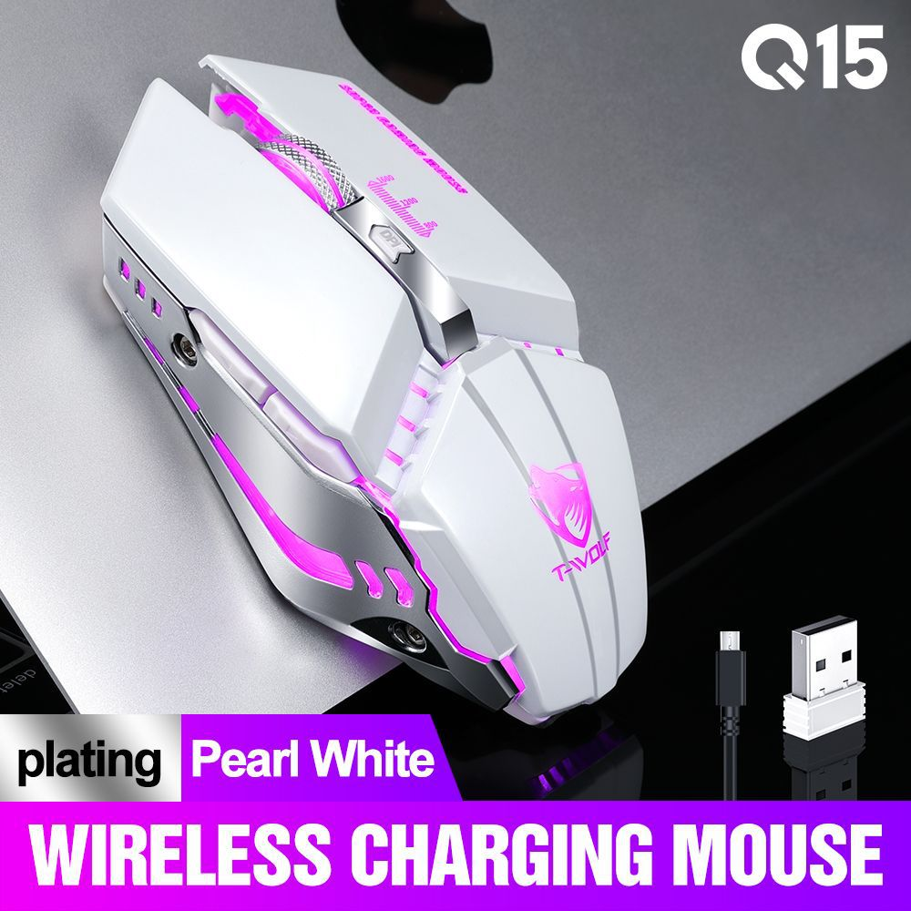 Q15 2.4GHz Wireless 1600DPI Mouse Silent Backlight Game Mice USB Receiver for PC Laptop Gamer Pearl White