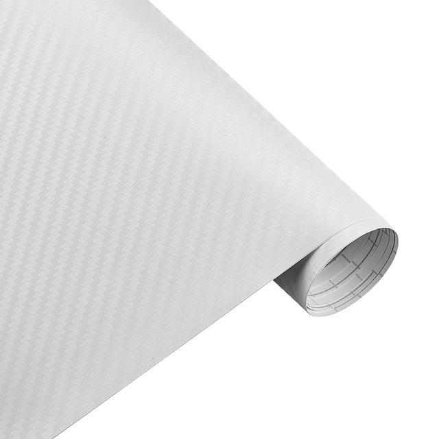 Carbon Fiber Vinyl Film Wrap for Car Vehicle Laptop 50*127cm White