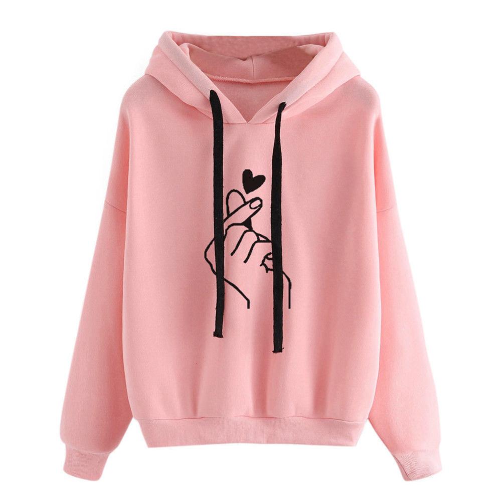 Women Fashion Heart-shaped Hand Printing Loose Casual Hoodies Pink_M