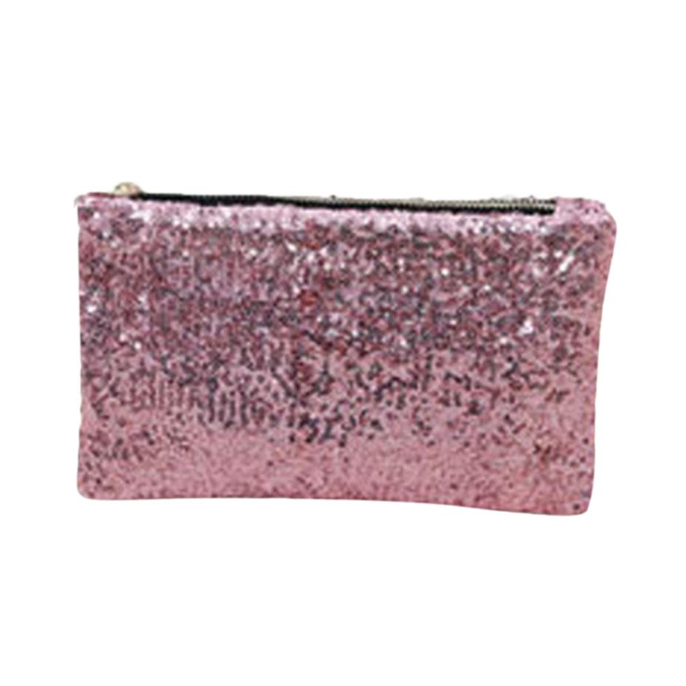 Women Fashion Dazzling Glitter Sparkling Bling Sequins Handbag Zipper Envelope Package Pink