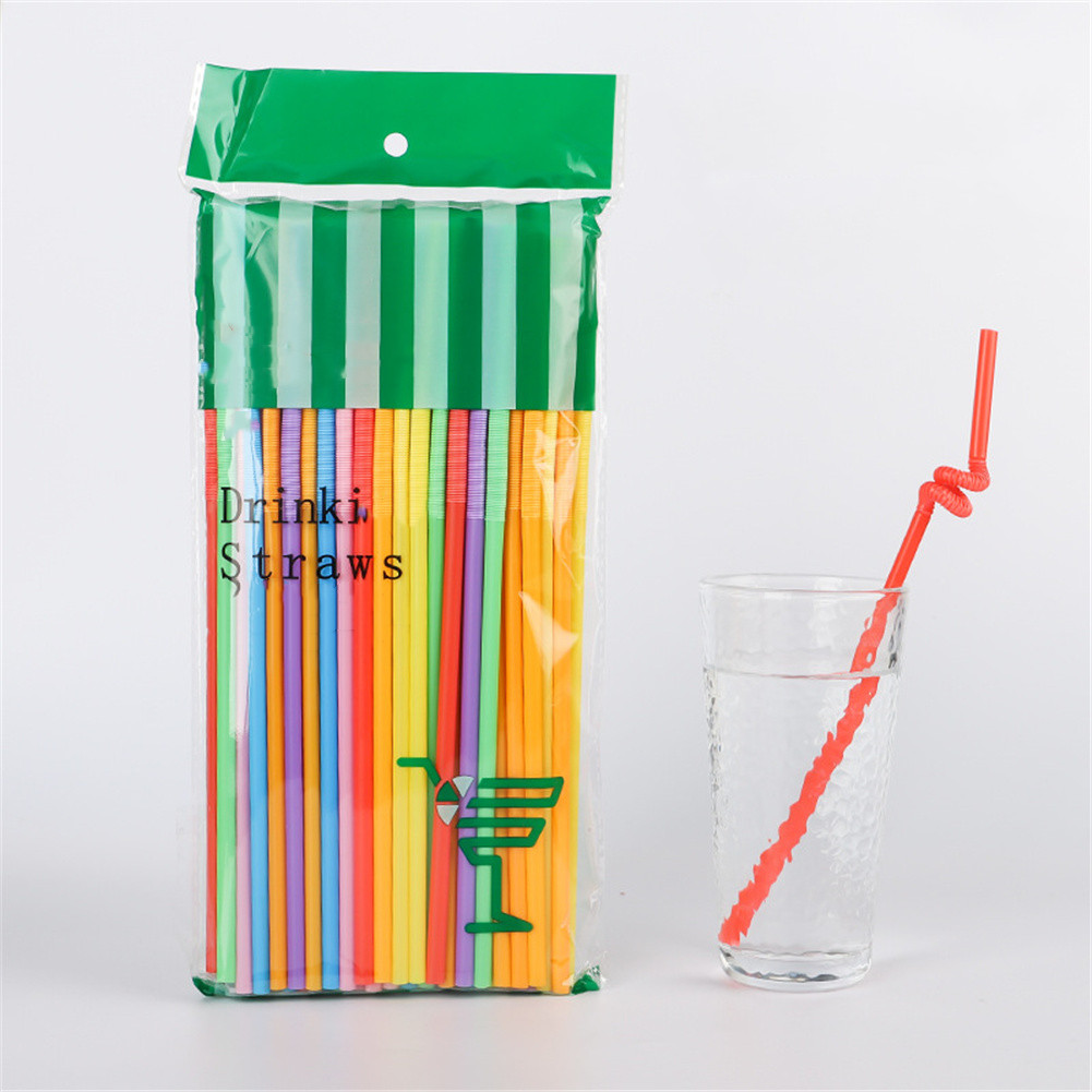 100pcs/set Flexible Bendy Disposable Plastic Drinking  Straws For Bar Party Color mix_Pack of 100