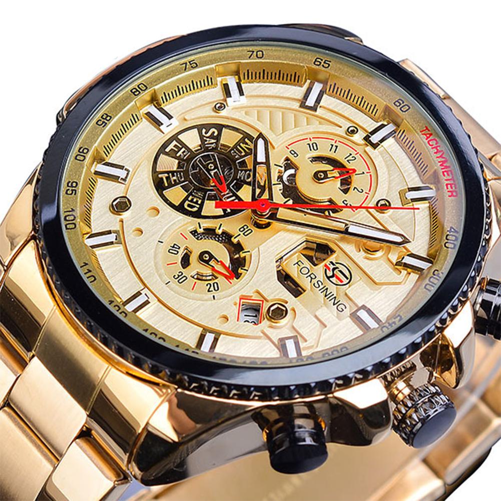Men Fashion Waterproof Multi-Function Automatic Mechanical Watch Gold belt gold dial