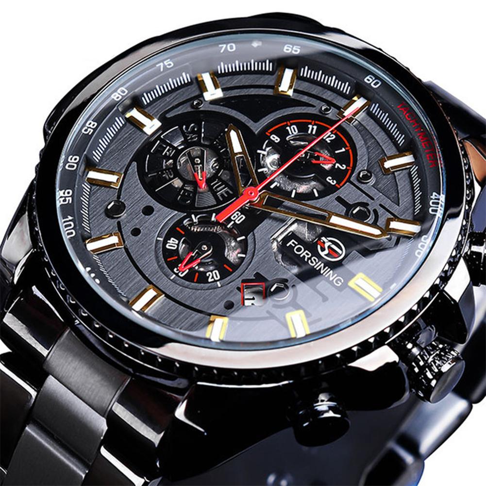 Men Fashion Waterproof Multi-Function Automatic Mechanical Watch Black belt black dial gold scale
