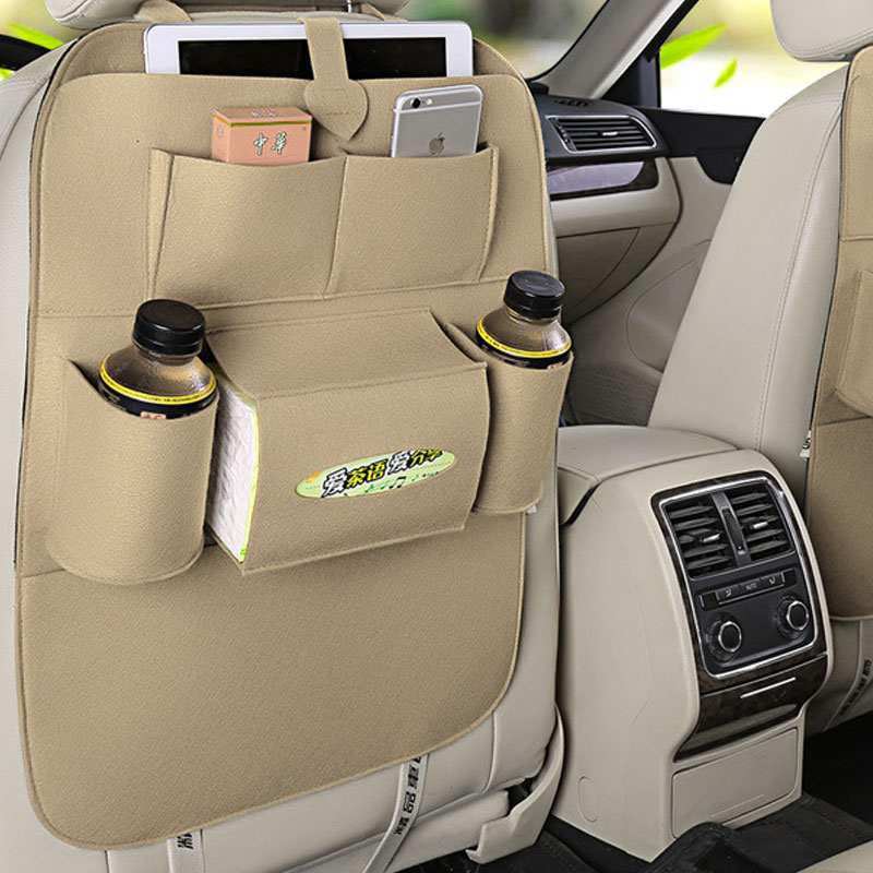 Car Back Seat Felt Multi Pocket Hanging Storage Bag Organiser Car Seat Back Bag Auto Travel Holder Car Accessories Beige_1 pc