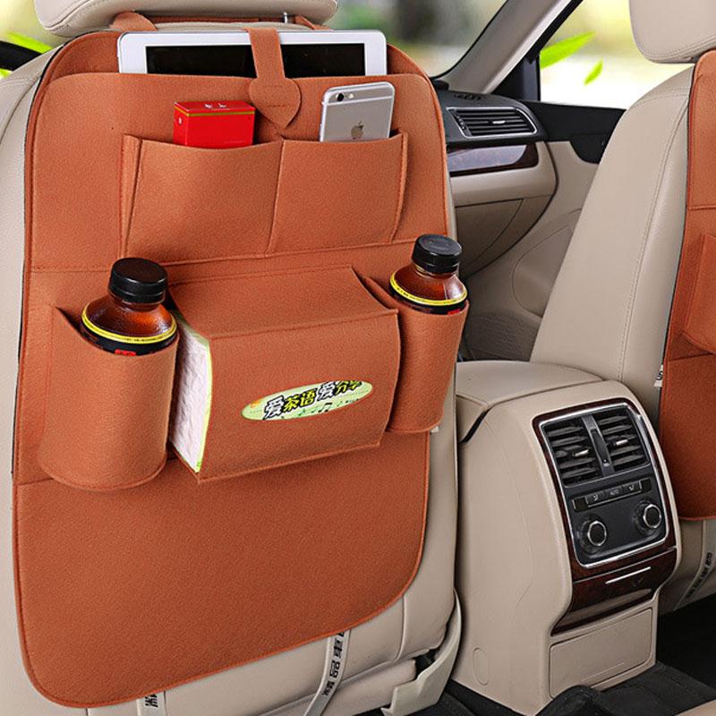 Car Back Seat Felt Multi Pocket Hanging Storage Bag Organiser Car Seat Back Bag Auto Travel Holder Car Accessories brown_1 pc