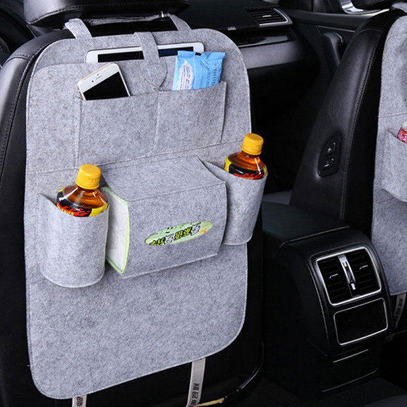 Car Back Seat Felt Multi Pocket Hanging Storage Bag Organiser Car Seat Back Bag Auto Travel Holder Car Accessories Light gray_1 pc