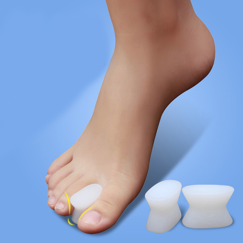 1Pair White Silicone Gel Toe Separator Spacer Straightener Relief Foot Bunion Pain Feet Orthotic Tool