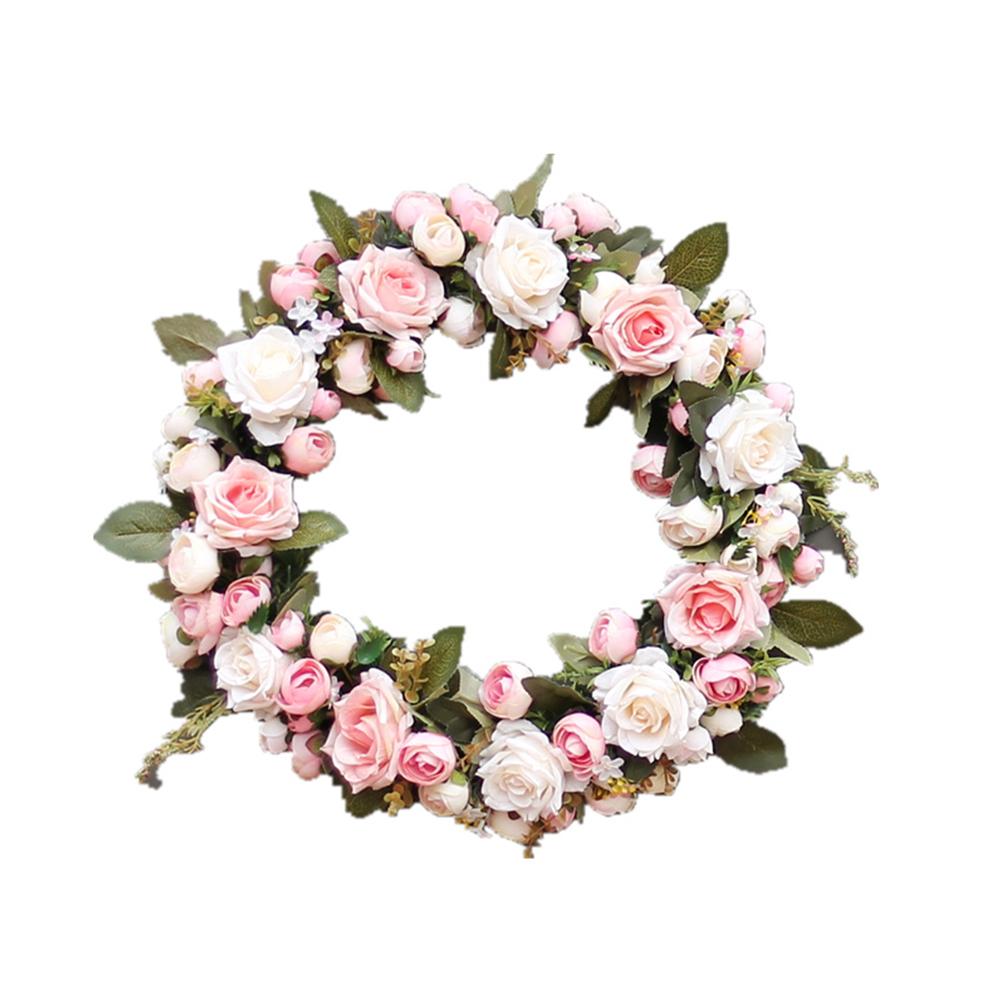 45CM Elegant Pink Peony Wreath Garland Floriation Decoration Hanging for Door Wedding Festival Pink