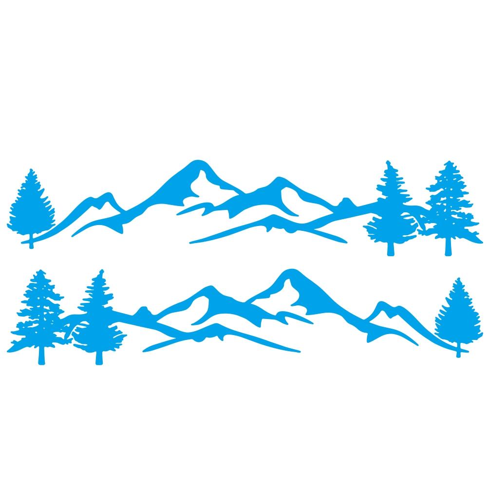 Mountain Tree Forest Graphic Vinyl Art Sticker for RV Decoration Forest Silhouette Decals Camper Vehicle Window Door Decoration blue