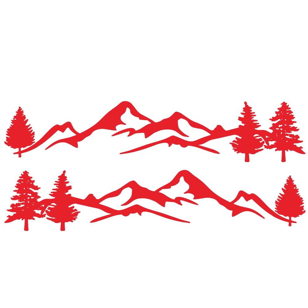 Mountain Tree Forest Graphic Vinyl Art Sticker for RV Decoration Forest Silhouette Decals Camper Vehicle Window Door Decoration red