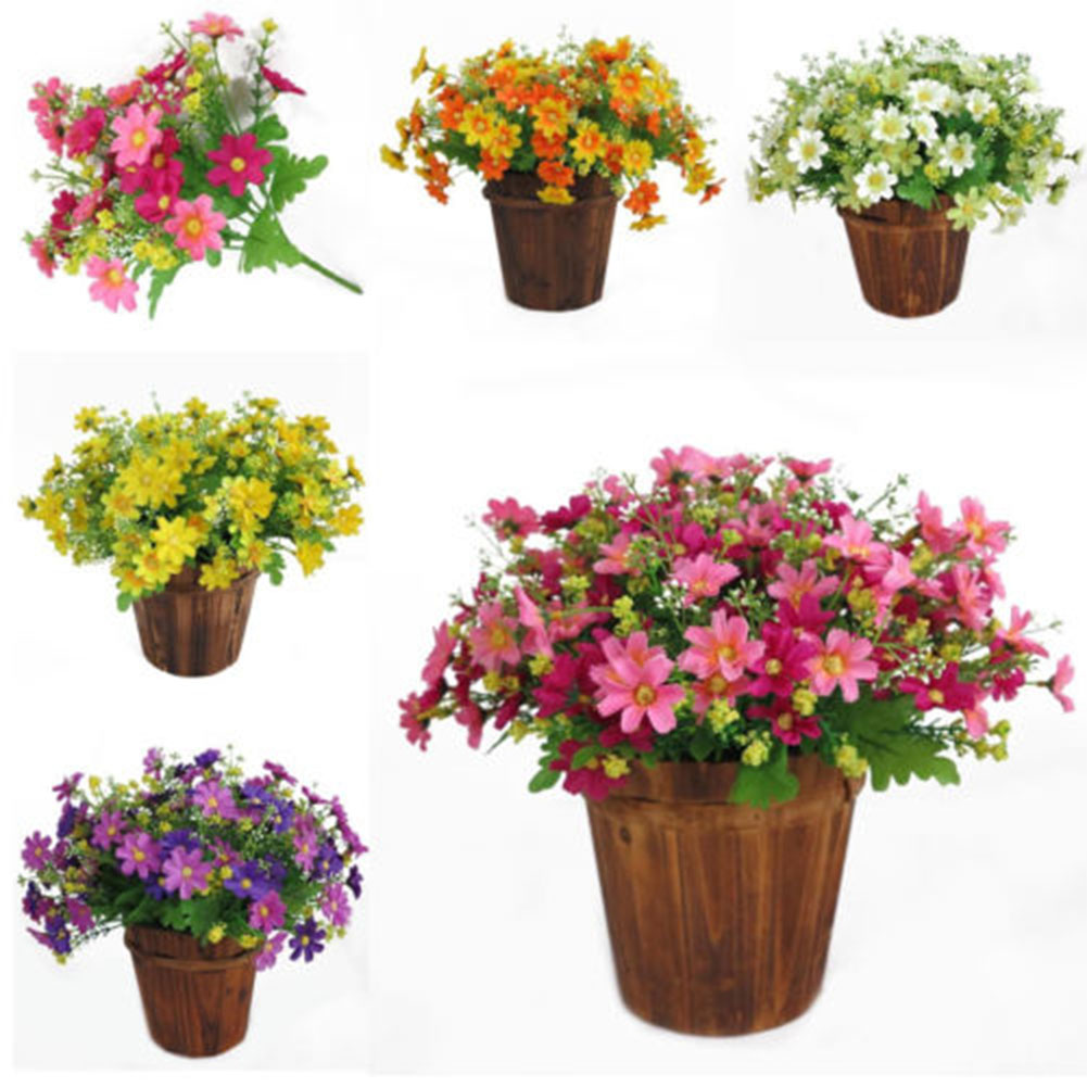 28 Heads 1 Bouquet Simulate Artificial Daisy Silk Flowers for Wedding Home Decoration pink