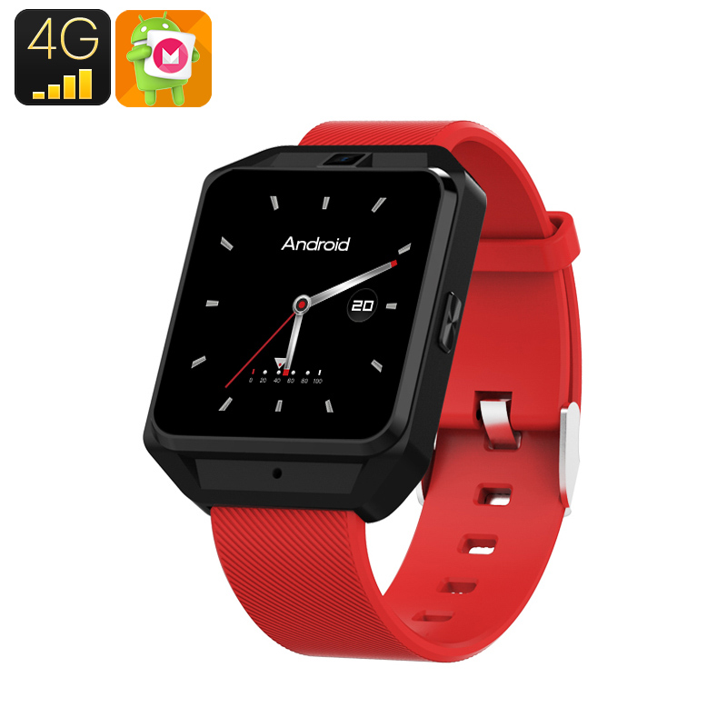 H5 Android Smart Watch - 4G, 1.54 Inch Touch Screen, Pedometer, Heartrate Sensor, Android 6.0, 5MP Camera 600 Mah(Red)
