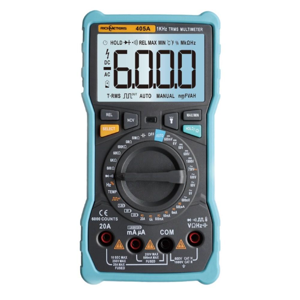 RICHMETERS 405A True-RMS 20A Digital Multimeter 6000 Counts AC/DC Voltage Current Ohm Temperature Auto/Manual Square Wave RM405A
