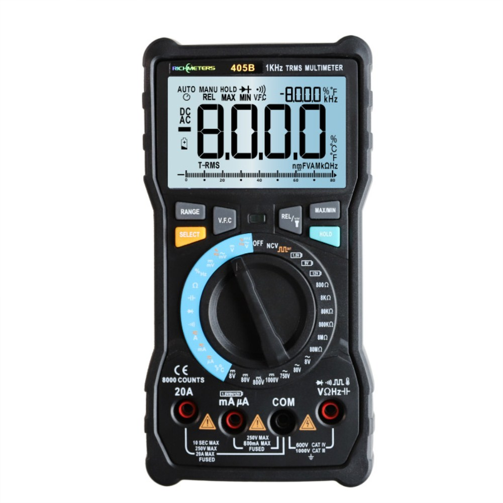 RICHMETERS 405A True-RMS 20A Digital Multimeter 6000 Counts AC/DC Voltage Current Ohm Temperature Auto/Manual Square Wave RM405B