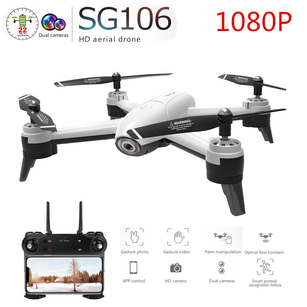 SG106 RC Drone Optical Flow 1080P 4K HD Dual Camera Real Time Aerial Video RC Quadcopter Aircraft Positioning RTF Toys Kids 1080P dual camera